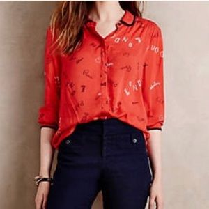 Anthropologie Maeve Art House Button Down Paris